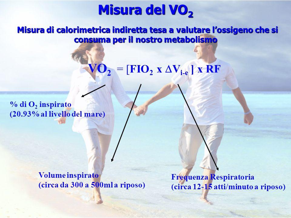Misura del VO2 VO2 = [FIO2 x Vi-e ] x RF
